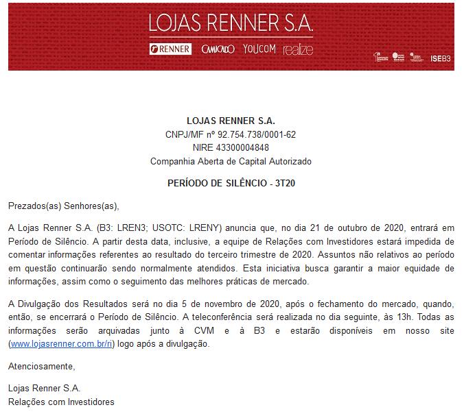 Exemplo de anúncio de período de silêncio da Lojas Renner (LREN3) em outubro 2020