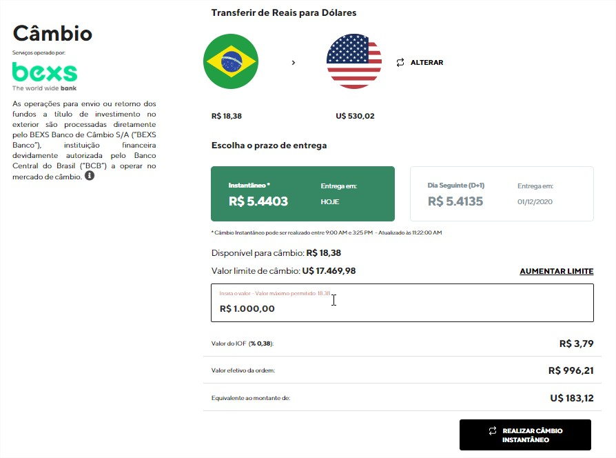 Avenue App - Câmbio - Conta BEXS