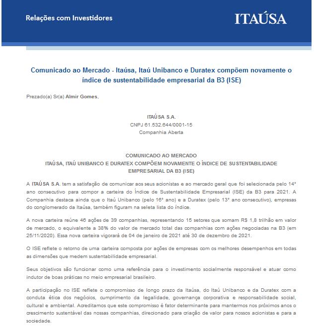Comunicado da Itaú SA sobre a inclusão da empresa no ISE