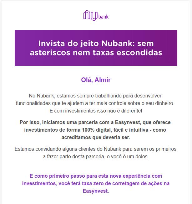 Convite do Nubank para investir pela Easynvest sem taxas