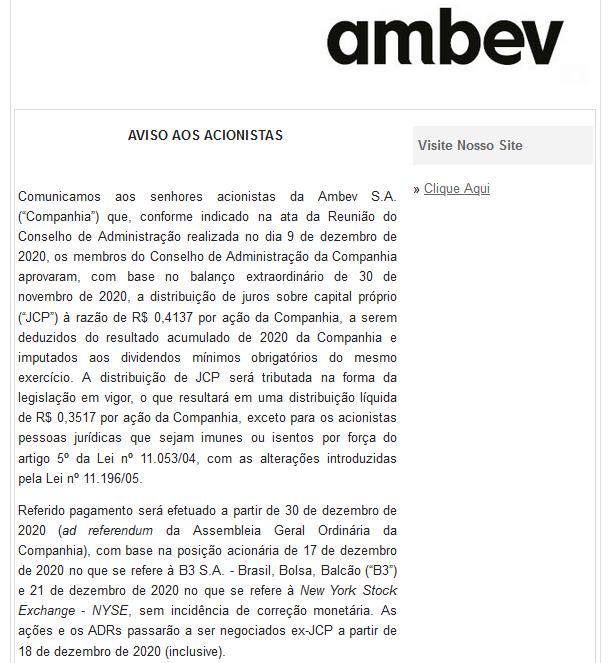 Exemplo de comunicado aos acionistas da Ambev sobre a distribuição de juros sobre o capital próprio - Fonte: Ambev