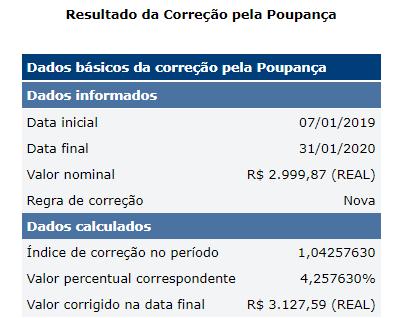 Variação da poupança entre janeiro de 2019 e dezembro de 2020 - Fonte: Banco Central